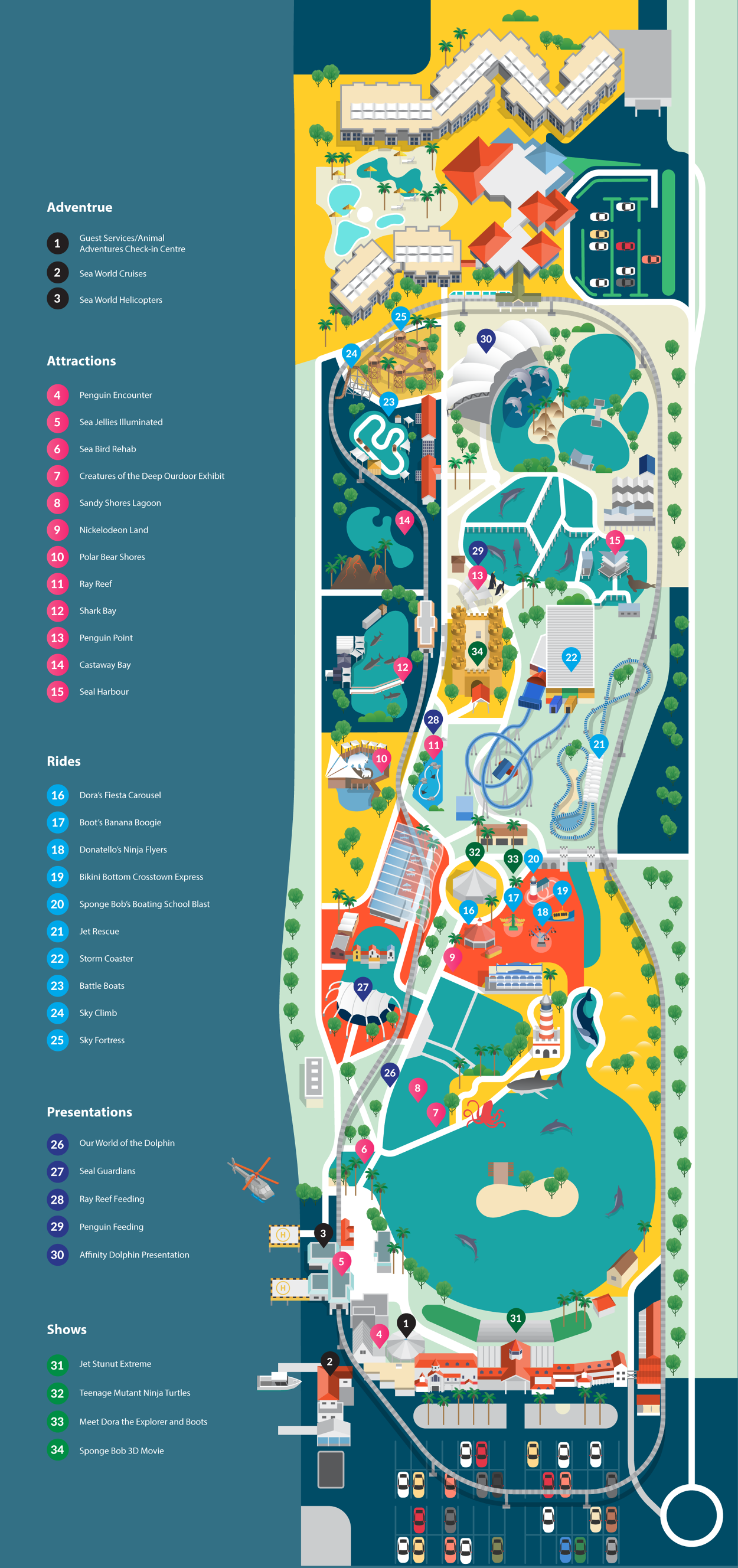 gold coast seaworld map